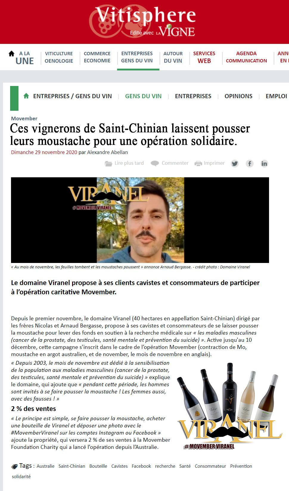 Vitisphère-operation Movember du domaine Viranel